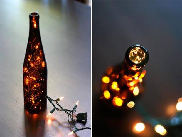 O mesmo exemplo acima pode ser feito com uma garrafa de vinho vazia.