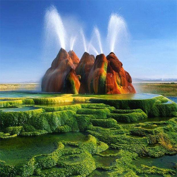 4 – Green Fly Geyser, Nevada, Estados Unidos