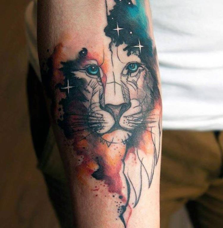 tatuagem-aquarela-leao