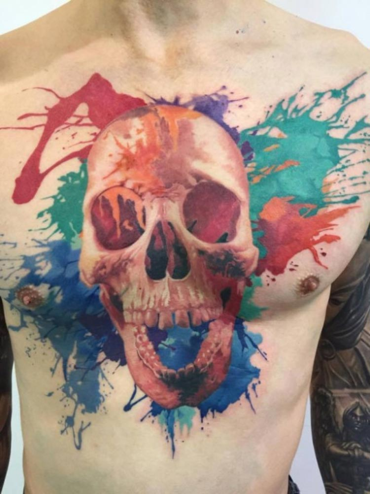 tatuagem-caveira-aquarela