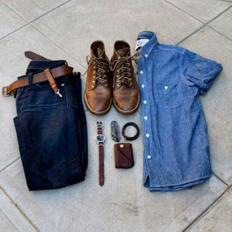 combo-bota-masculina-camisa-azul
