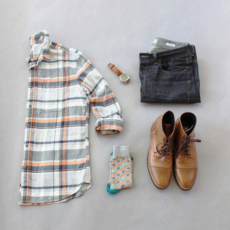 combo-verao-estilo-camisa-xadrez-bota