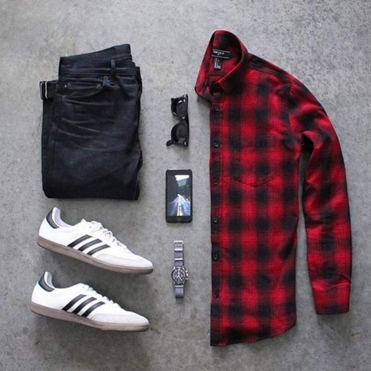 combo-camisa-xadrez-vermelha