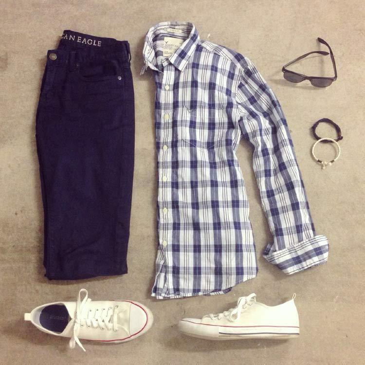look-camisa-xadrez-combo